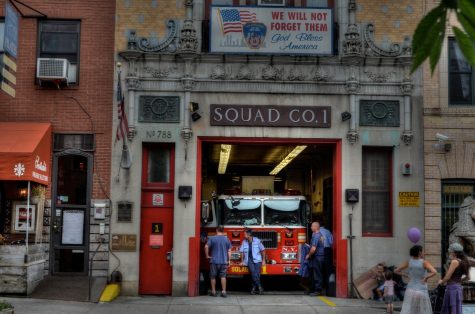 "Like a theatre play, some images read best as self-contained, left-to-right ""worlds"". A firehouse in Brooklyn, 2012. 1/60 sec.,  f/6.3, ISO 100, 38mm."