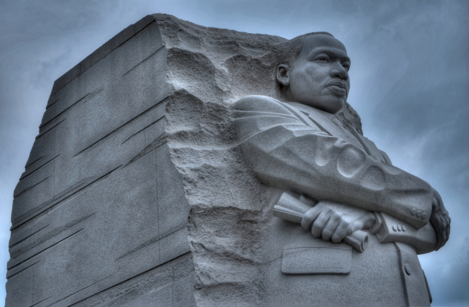 A determined Martin Luther King, Jr. stares forward into the future at the newly dedicated MLK Memorial on Washington's National Mall. Fusion of three exposures of (      ), all f/5.6, ISO 100, 48mm.