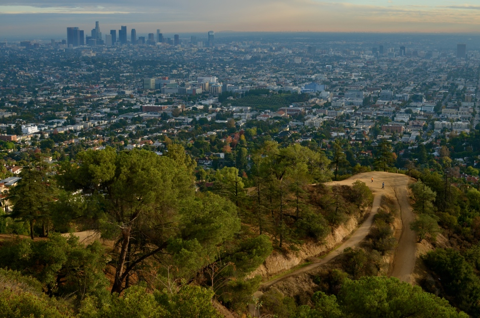 As seen from Griffith Observatory: park running paths and a smog-shrouded L.A.: 1/320 sec., f/5.6, ISO 100, 35mm.