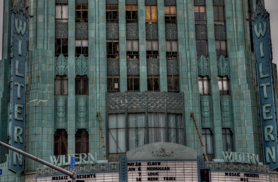 The wondrous Wiltern Theatre in Los Angeles. A three-exposure HDR to amplify time's toll on the building's exterior.