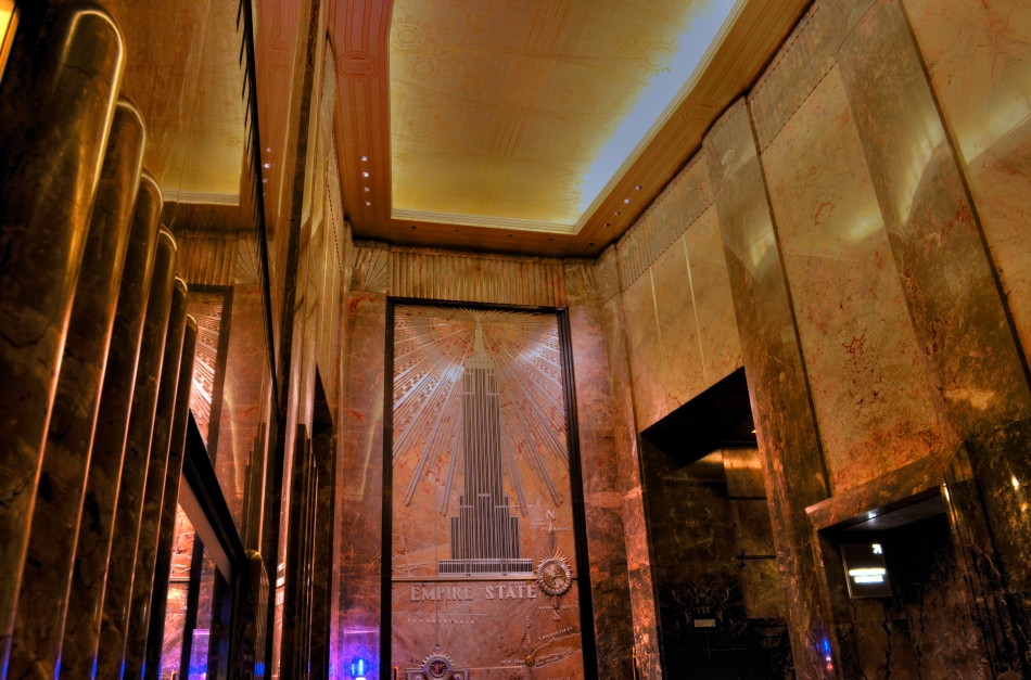 Big Dreams, Big Walls: The elegant lobby of the Empire State Building, NYC.