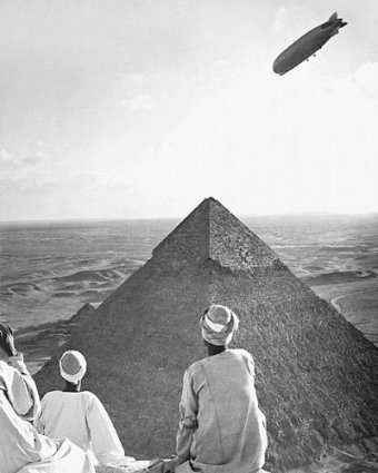 The Graf Zeppelin cruises over the great pyramids at Giza.