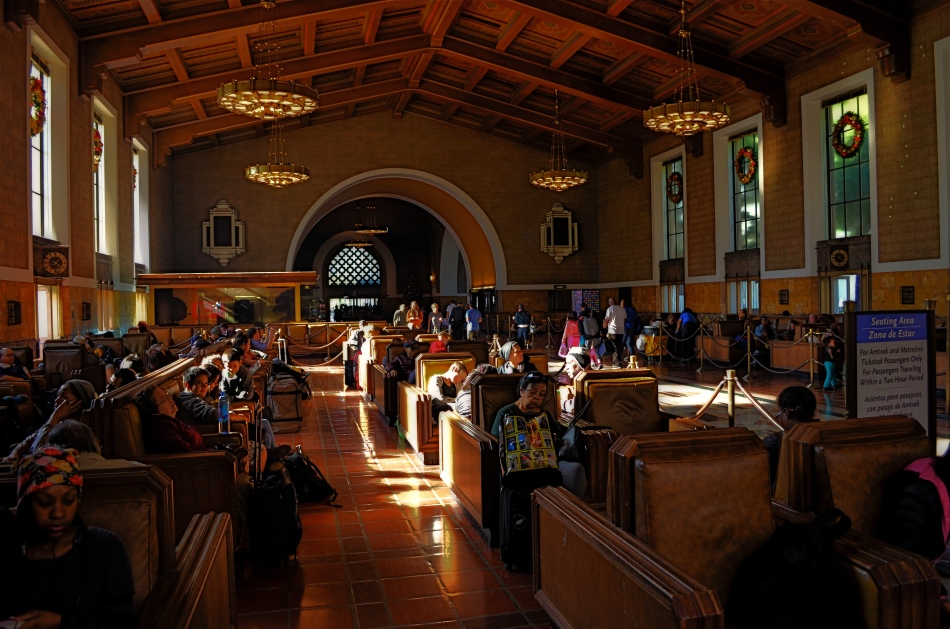 Please Listen For Announcements: the iconic waiting room at Los Angeles' Union Station terminal.