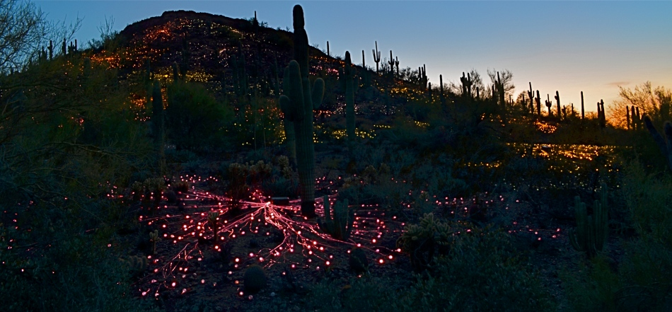"""Ember Mountain, 2016. Two separate time exposures nearly a half-hour apart, blended in Photomatix' """"Exposure Fusion"""" mode."""