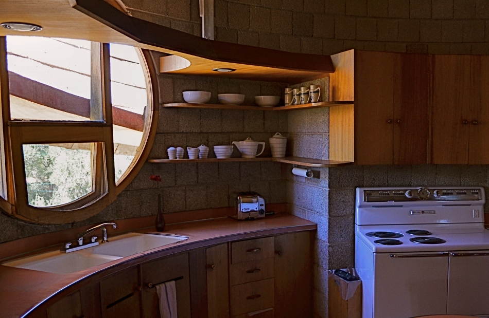 The David Wright House's kitchen is compact and airy.