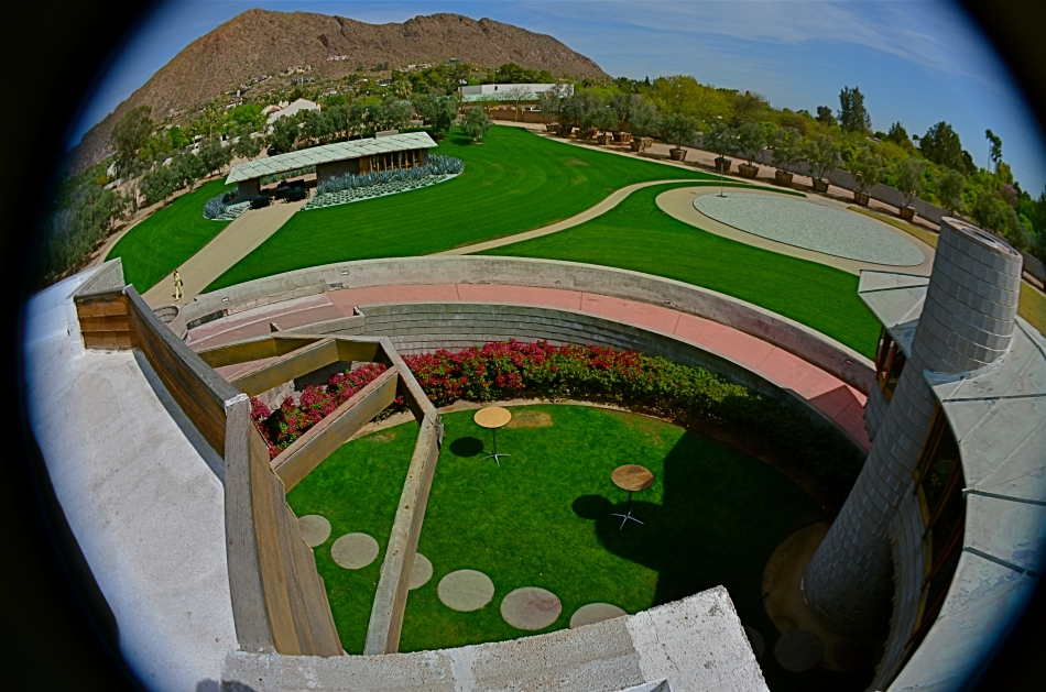 A view from the roof of the David Wright House, Frank Lloyd Wright's gift to his son, built in 1950 and now being prepped for complete restoration. The detached guest house and Camelback Mountain are in the distance.