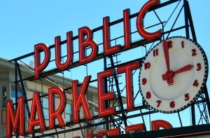 The standard view of Seattle's Public Market is not of the market in total, but of its iconic sign.